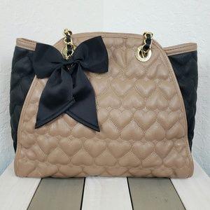 Betsy Johnson | Tan Black Quilted Bow Shoulder Bag
